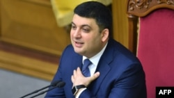 Ukraine's parliament speaker and candidate for the office of prime minister, Volodymyr Hroysman, takes part in a parliament session in Kyiv on April 13.