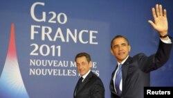 Саркози (слева) и Обама, Канны, 3 ноября2011