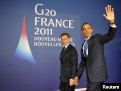 """Президент Николя Саркози жана президент Барак Обама """"Чоң жыйырманын"""" саммити алдында. 3-ноябрь 2011"""