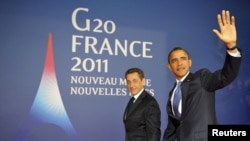 French President Nicolas Sarkozy (left) and his U.S. counterpart Barack Obama arrive in Cannes for a bilateral meeting before the start of the G20 Summit of major world economies.