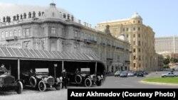 Азербайжан мамлекеттик мунай компаниясынын (SOCAR) эски жана жаңы имараты. Бакы.