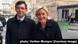 Народний депутат Євген Мураєв і лідер ультраправої французької партії «Національний фронт» Марін Ле Пен. Париж, 2016 рік