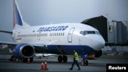 Літак російської компанії «Трансаеро» в аеропорту «Бориспіль» у вересні 2015 року