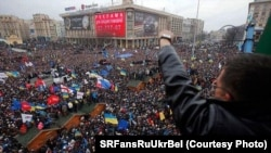 "Opposition ""Euromaidan"" protesters or ""євромайданівці,"" as they are known in Ukraine."