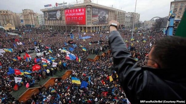 """Opposition """"Euromaidan"""" protesters or """"євромайданівці,"""" as they are known in Ukraine."""