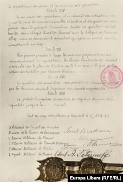 Pagina finală a Convenției militare de la 4/17 august 1916 (Arhivele Naționale Istorice Centrale)