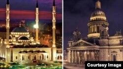 """Мечеть """"Сердце Чечни"""" в Грозном и Исаакиевский собор в Санкт-Петербурге"""