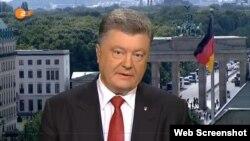 Președintele Petro Poroșenko vorbind la TV ZDF