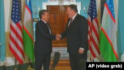 "Uzbek President Shavkat Mirziyoev (left), who took over the region's largest nation by population in 2016, has used his ""visionary leadership"" to drive internal reforms and interstate cooperation, a senior US official said."