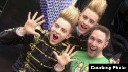 Jordan poses with the Irish duo Jedward at Eurovision 2011