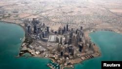 Vedere aeriană a cartierului diplomatic de la Doha, în Qatar