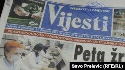 "Montenegro - Podgorica, ilustrative photo: daily ""Vijesti"", newspaper, 21Dec2012"