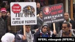 Акция протеста палестинцев против признания президентом США Дональдом Трампом Иерусалима столицей Израиля.