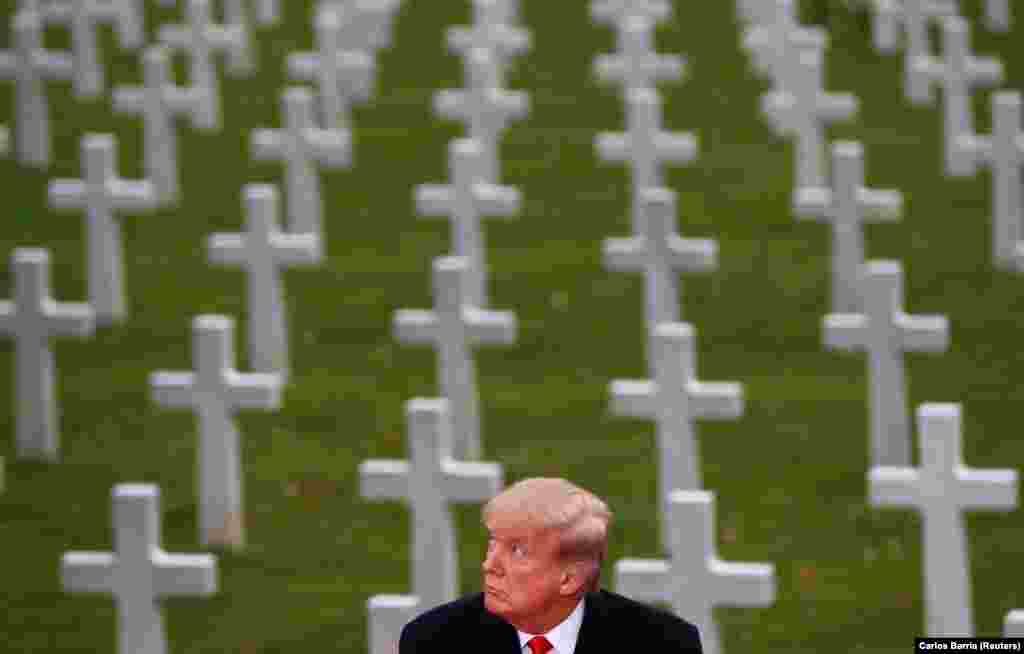 U.S. President Donald Trump takes part in the commemoration ceremony for Armistice Day, 100 years after the end of World War I, at the Suresnes American Cemetery and Memorial in Paris on November 11. (Reuters/Carlos Barria)