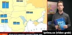 Одна з мап атласу в репортажі чеського телеканалу Prima, 30 січня 2018 року