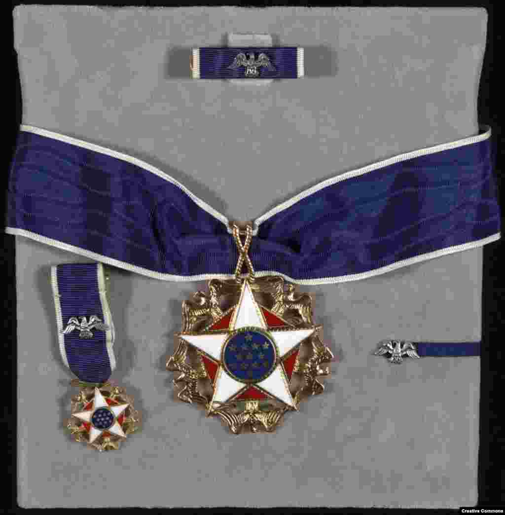 "The United States' Presidential Medal of Freedom   The medal rewards Americans, and occasionally non-Americans, for ""exceptional contributions to the security or national interests of America, to world peace, or to cultural or other significant public or private endeavors."""