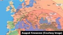 Границы досягаемости российских ракетных комплексов из аннексированного Крыма и военной базы России в Сирии