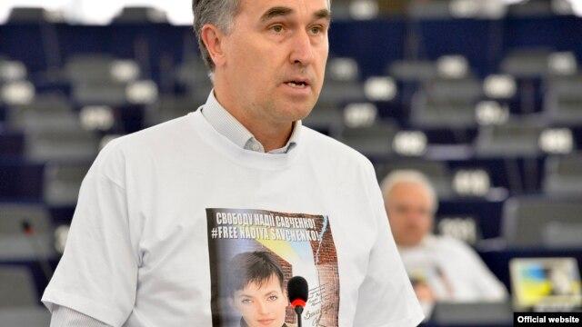 Пятрас Ауштрявичус на заседании Европарламента, где рассматривалось дело Савченко