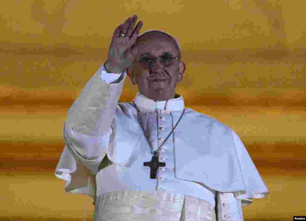 Newly elected Pope Francis appears on the balcony of St. Peter's Basilica.