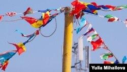 Drapele multicolore la Comrat