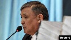 Судья Аралбай Нағашыбаев Жаңаөзен оқиғасы бойынша өтіп жатқан сотта отыр. Ақтау, 27 наурыз 2012 жыл.