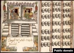 Цомпантли, или стена из черепов. Изображение из манускрипта Хуана де Товара