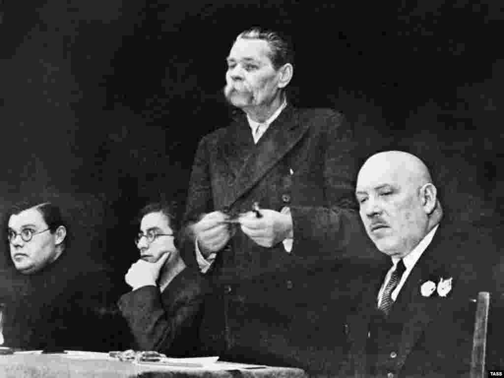 Maksim Gorky addresses a congress of Soviet writers in Moscow in 1935 - But the energy and initiative of early Soviet artists became increasingly unsustainable as the state solidified control over all aspects of life. In 1932, the Soviet Union of Writers was formed, followed by similar state bodies for other creative artists. A pedantic doctrine of socialist realism was proclaimed the official aesthetic and the spontaneous enthusiasm of early Soviet art was suffocated.