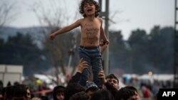 Акция протеста мигрантов в районе Идомени, Греция. Иллюстративное фото.