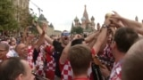 Croatians Root For Their Team Ahead Of World Cup Final In Moscow's Red Square