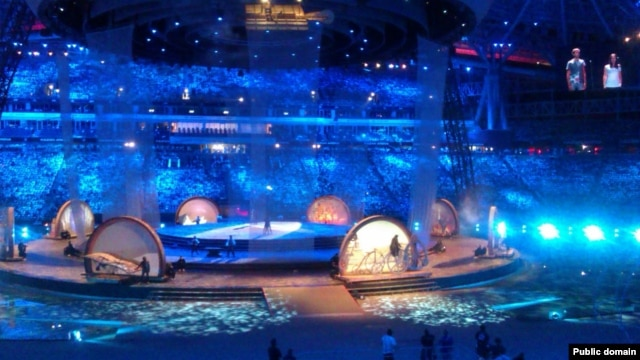 A recent rehearsal for opening ceremonies of the Universiade