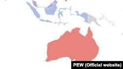 مسیر آبی از اندونزی (رنگ آبی بر نقشه) تا استرالیا (در پایین نقشه) از پر رفتوآمدترین مسیرهای دریایی برای قاچاق انسان به شمار میرود