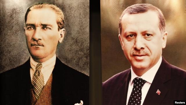 Portreti Mustafe Kemala Ataturka i Redžepa Tajipa Erdogana