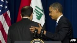 АКШнын президенти Барак Обама (оңдо) менен Ирактын премьер-министри Нури ал-Малики (солдо) биргелешкен маалымат жыйынында, Вашингтон, 12-декабрь, 2011