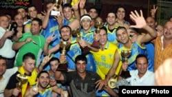 فريق نادي دهوك يحتفل بالفوز