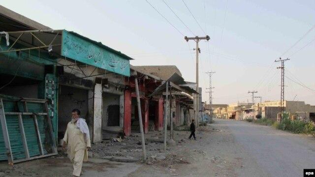A deserted market in North Waziristan.