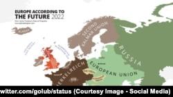 Avropanın 2022-ci ilə mümkün xəritəsi, Mikhail Golub (status Twitter)