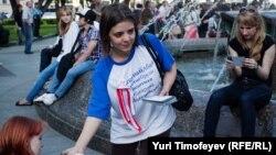 """""""Баррикада"""" метро станциясы маңында акция өткізіп жатқан оппозиция белсенділері. Мәскеу, 16 мамыр 2012 жыл."""