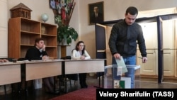 A man casts his vote in Sukhumi during legislative elections held in the breakaway Abkhazia region on March 12.