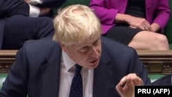 Britain's Foreign Secretary Boris Johnson answers an urgent question on Nazanin Zaghari-Ratcliffe in the House of Commons chamber in London, November 13, 2017