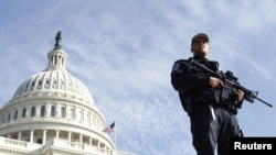 A police officer outside the Capitol building in Washington D.C.