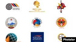 Armenia - The logos of political parties and blocs running in Armenian parliamentary elections.