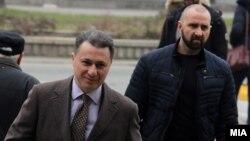 """Архивска фотографија - Поранешниот премиер Никола Груевски со неговиот телохранител пред Суд по одложувањето на едно од рочиштата за """"Насилство во Центар"""", декември 2017"""