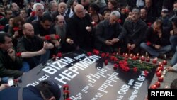 Turkey -- Protest action in Istanbul's Taksim square to commemorate 1915 killings of Armenians in the Ottoman Empire.