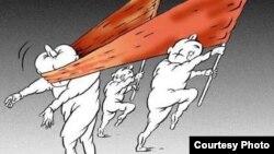 Көрнекі карикатура. Авторы Олег Локтев.