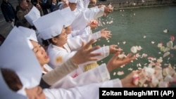 Громадяни Південної Кореї кидають в Дунай листя квітів, щоб вшанувати пам'ять своїх співвітчизників, які загинули під час корабельної аварії. Будапешт, Угорщина, 7 жовтня 2019 року