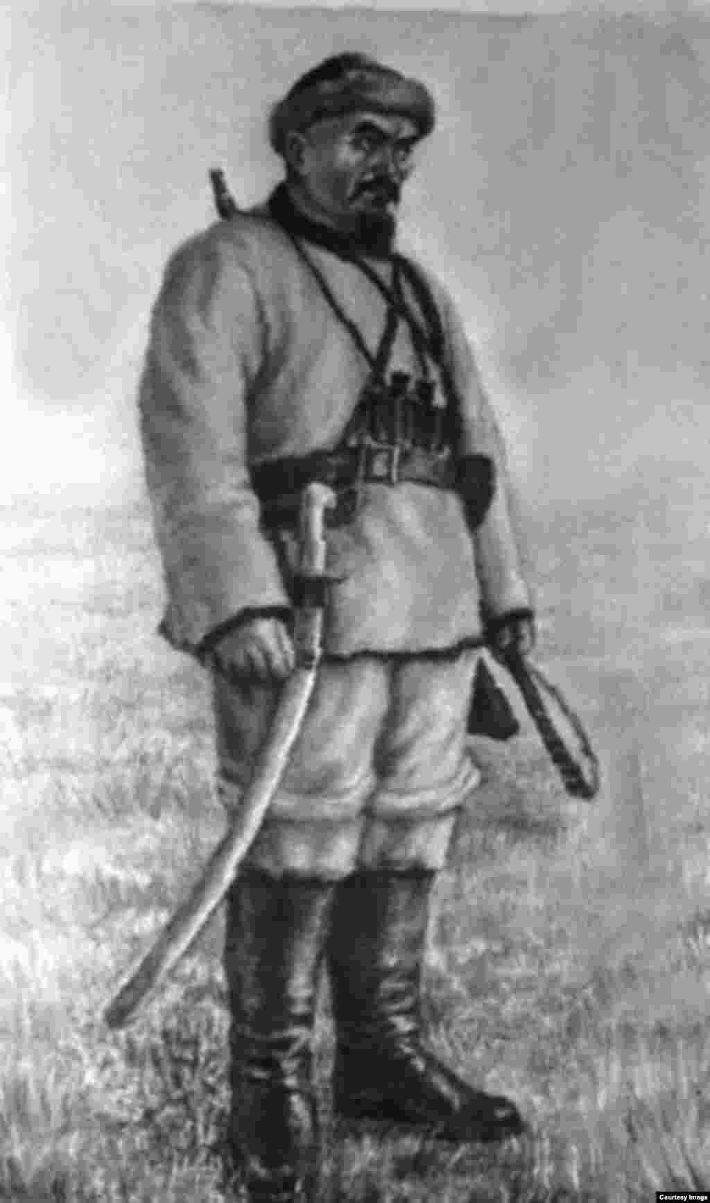 1916 жылғы ұлт-азаттық көтерілісінің көсемі, халық батыры Амангелді Иманов. Әбілхан Қастеев салған сурет.