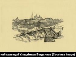 Падарваны мост у Горадні