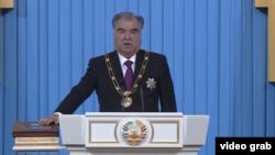 Emomali Rahmon takes the oath of office on October 30.
