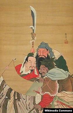 «Герои Троецарствия», японская шелкография XVIII века.