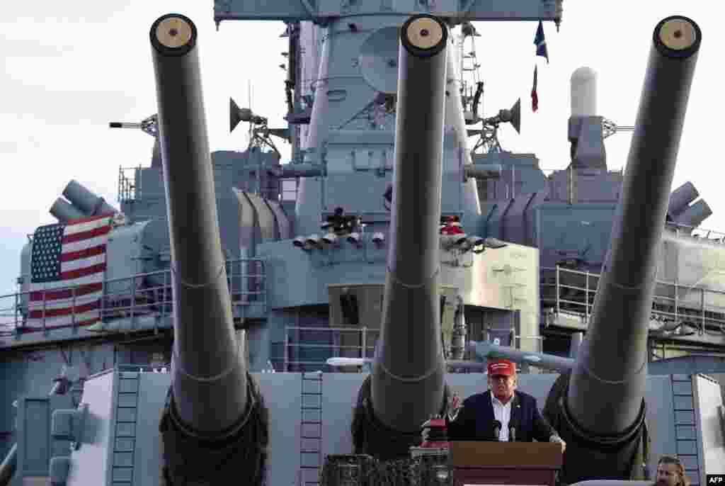 Republican presidential candidate Donald Trump gives a national security speech aboard the World War II battleship USS Iowa, in San Pedro, California. (AFP/Robyn Beck)